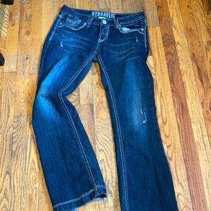 Women's size 9/10 Hydraulic flare bottom bling pocket jeans